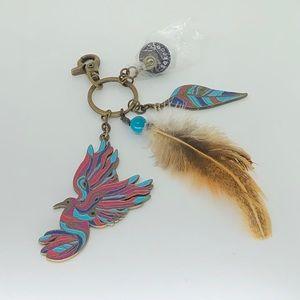 Sakroots Enamel Eagle & Feather Keychain! NWOT!
